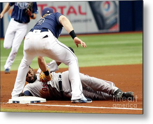 People Metal Print featuring the photograph Evan Longoria and Jackie Bradley by Brian Blanco