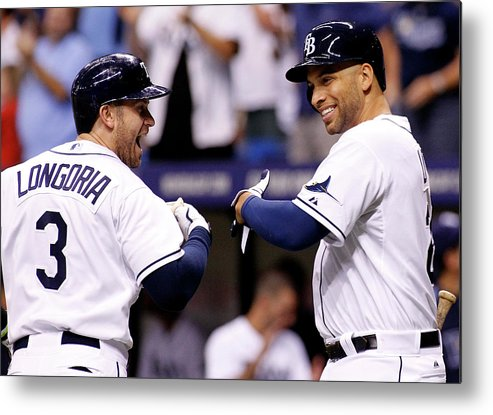 American League Baseball Metal Print featuring the photograph Evan Longoria and James Loney by Brian Blanco