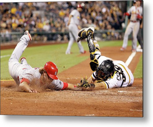 St. Louis Cardinals Metal Print featuring the photograph Francisco Cervelli and Mark Reynolds by Justin K. Aller