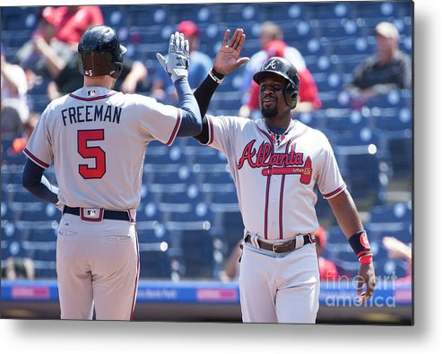 Three Quarter Length Metal Print featuring the photograph Freddie Freeman and Brandon Phillips by Mitchell Leff