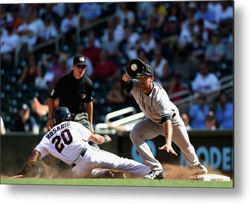 People Metal Print featuring the photograph Garrett Jones and Eddie Rosario by Hannah Foslien