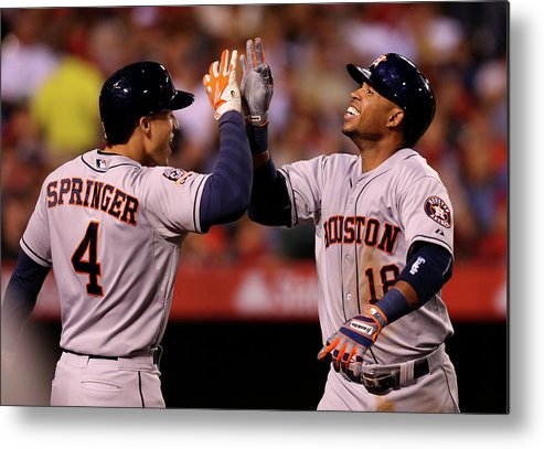 People Metal Print featuring the photograph George Springer and Luis Valbuena by Stephen Dunn