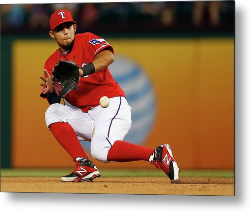 American League Baseball Metal Print featuring the photograph George Springer and Rougned Odor by Tom Pennington