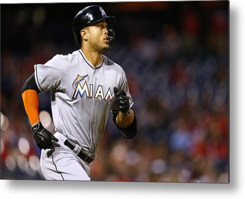 Three Quarter Length Metal Print featuring the photograph Giancarlo Stanton by Rich Schultz
