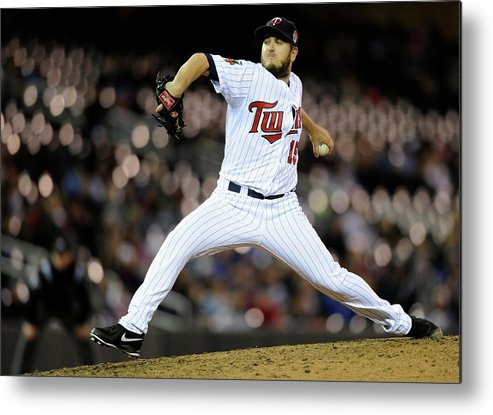 Ninth Inning Metal Print featuring the photograph Glen Perkins by Hannah Foslien