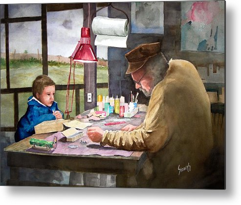 Man Metal Print featuring the painting Grandpa's Workbench by Sam Sidders