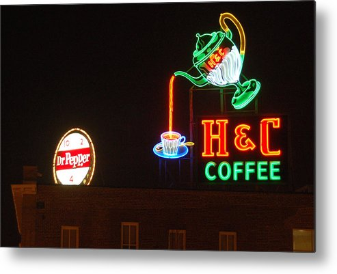 H C Coffee Metal Print featuring the photograph H and C Coffee Sign Roanoke Virginia by Suzanne Gaff