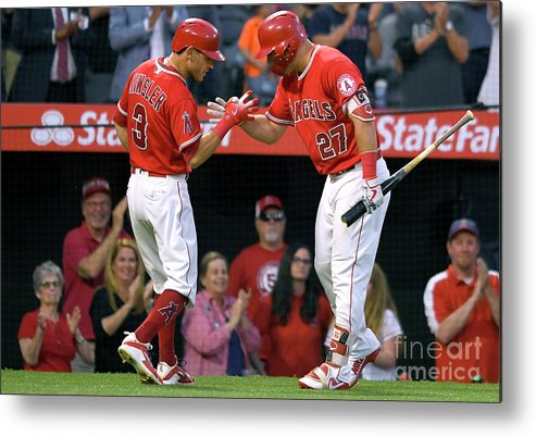 People Metal Print featuring the photograph Ian Kinsler and Mike Trout by John Mccoy