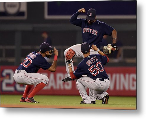 People Metal Print featuring the photograph Jackie Bradley, Chris Young, and Mookie Betts by Hannah Foslien