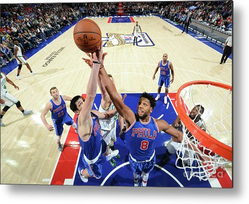 Nba Pro Basketball Metal Print featuring the photograph Jahlil Okafor and Ersan Ilyasova by Jesse D. Garrabrant