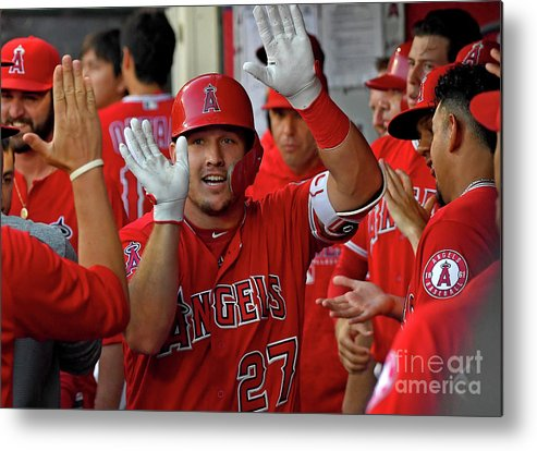 People Metal Print featuring the photograph James Shields and Mike Trout by Jayne Kamin-oncea