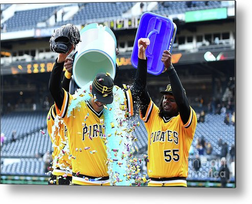 People Metal Print featuring the photograph Jameson Taillon and Starling Marte by Joe Sargent