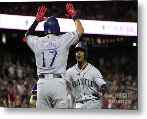 Three Quarter Length Metal Print featuring the photograph Jean Segura and Shin-soo Choo by Patrick Smith