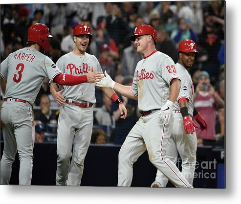 People Metal Print featuring the photograph Jean Segura, Bryce Harper, And Jay Bruce by Denis Poroy