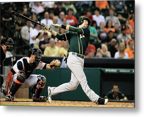 American League Baseball Metal Print featuring the photograph Jed Lowrie by Scott Halleran