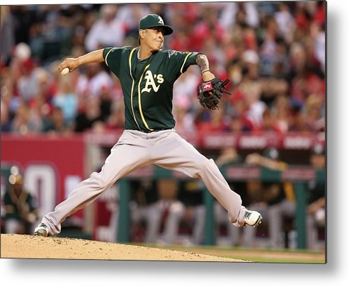 American League Baseball Metal Print featuring the photograph Jesse Chavez by Stephen Dunn