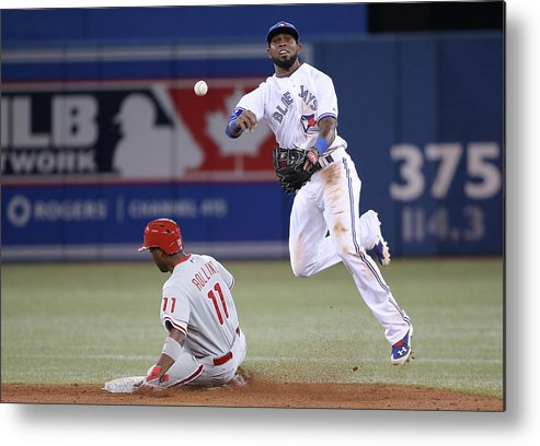 American League Baseball Metal Print featuring the photograph Jimmy Rollins and Jose Reyes by Tom Szczerbowski
