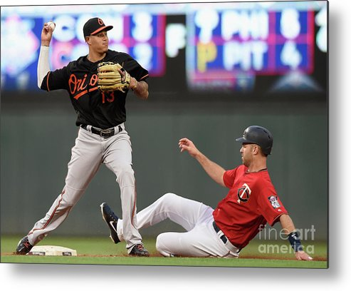 Double Play Metal Print featuring the photograph Joe Mauer and Manny Machado by Hannah Foslien