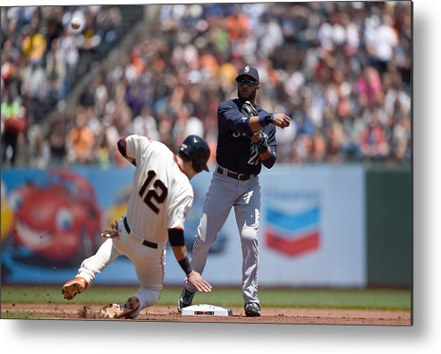 Double Play Metal Print featuring the photograph Joe Panik by Thearon W. Henderson