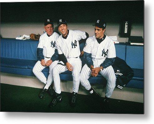 American League Baseball Metal Print featuring the photograph Joe Torre, Derek Jeter, and Don Zimmer by Rich Pilling