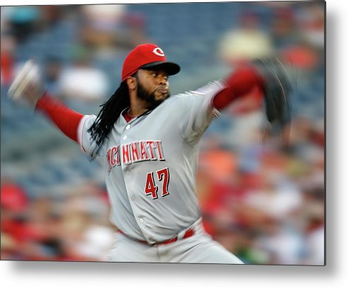 Three Quarter Length Metal Print featuring the photograph Johnny Cueto by Rob Carr