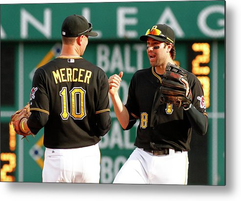 Professional Sport Metal Print featuring the photograph Jordy Mercer and Neil Walker by Justin K. Aller