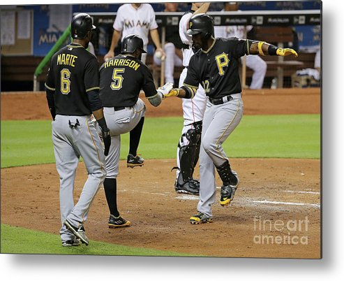 People Metal Print featuring the photograph Josh Harrison, Andrew Mccutchen, and Starling Marte by Mike Ehrmann