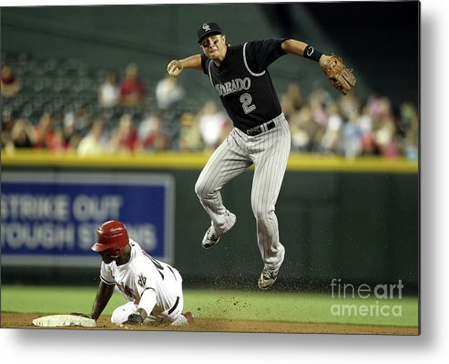 Double Play Metal Print featuring the photograph Justin Upton and Troy Tulowitzki by Christian Petersen