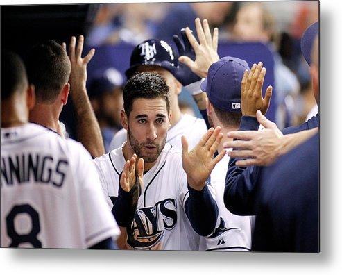 American League Baseball Metal Print featuring the photograph Kevin Kiermaier and James Loney by Brian Blanco