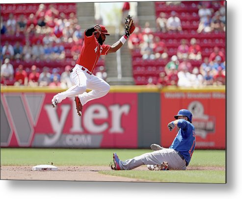 Great American Ball Park Metal Print featuring the photograph Kyle Schwarber and Brandon Phillips by Andy Lyons