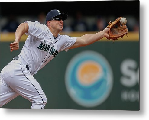 American League Baseball Metal Print featuring the photograph Kyle Seager And Chris Denorfia by Otto Greule Jr