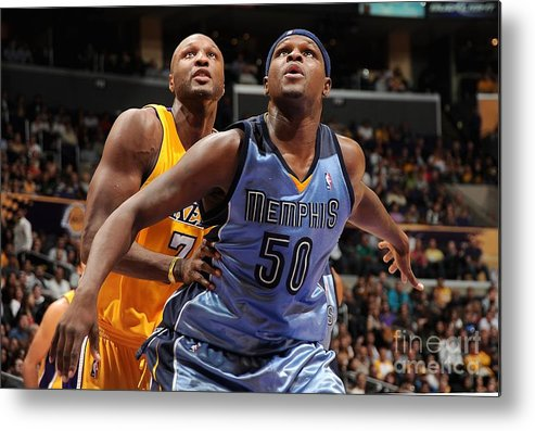 Nba Pro Basketball Metal Print featuring the photograph Lamar Odom and Zach Randolph by Andrew D. Bernstein