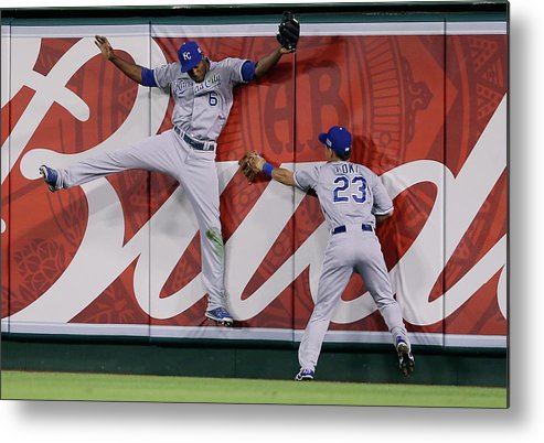 American League Baseball Metal Print featuring the photograph Lorenzo Cain by Jeff Gross