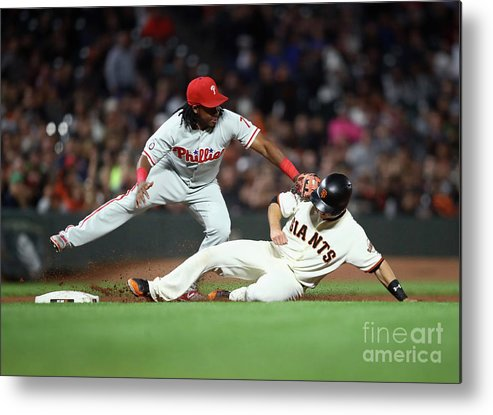 San Francisco Metal Print featuring the photograph Maikel Franco and Buster Posey by Ezra Shaw