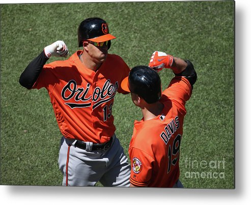 People Metal Print featuring the photograph Manny Machado and Chris Davis by Tom Szczerbowski