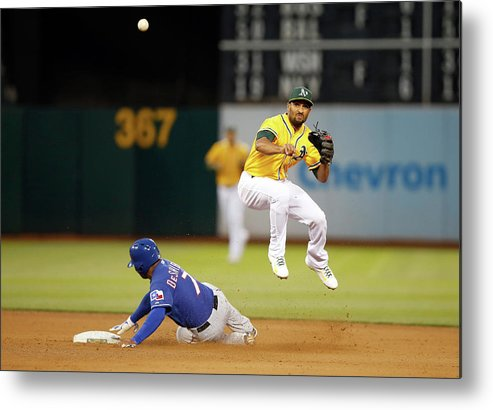 Double Play Metal Print featuring the photograph Marcus Semien and Shin-soo Choo by Ezra Shaw