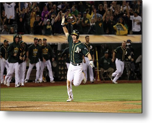 People Metal Print featuring the photograph Mark Canha and Billy Butler by Ezra Shaw