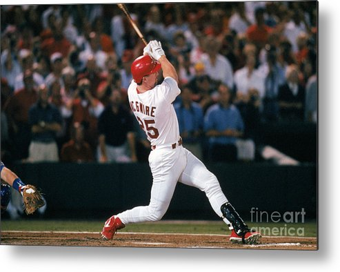 St. Louis Cardinals Metal Print featuring the photograph Mark Mcgwire and Roger Maris by Ron Vesely