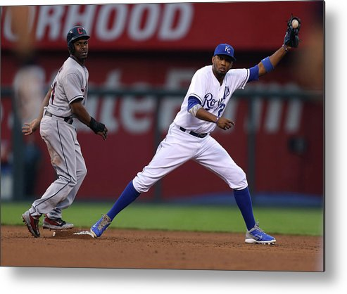Michael Bourn Metal Print featuring the photograph Michael Bourn and Alcides Escobar by Ed Zurga