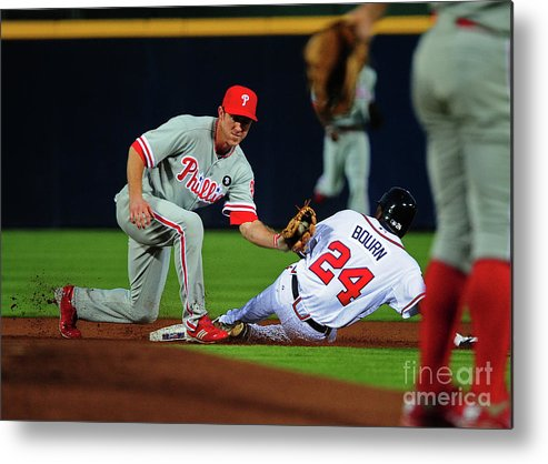Atlanta Metal Print featuring the photograph Michael Bourn and Chase Utley by Scott Cunningham