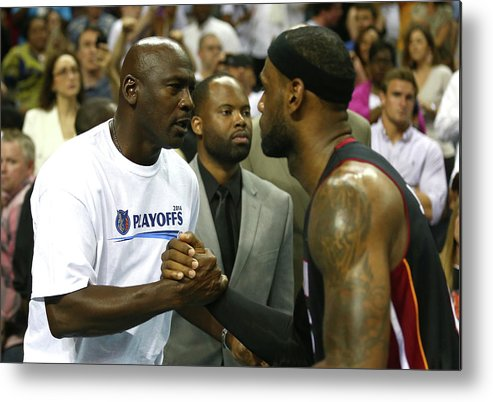 Playoffs Metal Print featuring the photograph Michael Jordan and Lebron James by Streeter Lecka