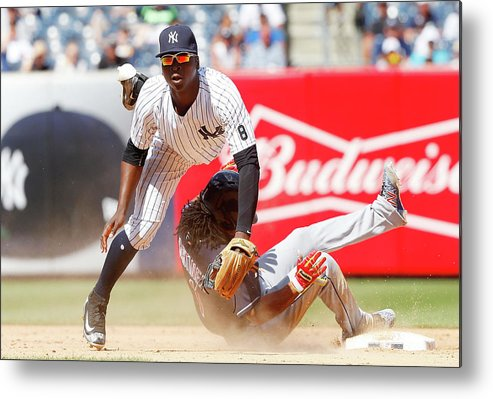 Double Play Metal Print featuring the photograph Michael Martinez and Didi Gregorius by Jim Mcisaac