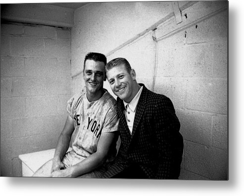 American League Baseball Metal Print featuring the photograph Mickey Mantle and Roger Maris by Herb Scharfman/sports Imagery