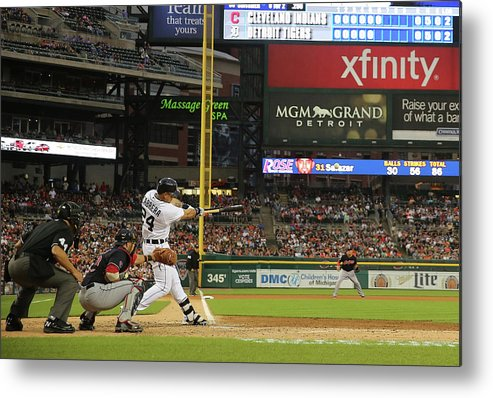 People Metal Print featuring the photograph Miguel Cabrera, Anthony Gose, and Rajai Davis by Leon Halip