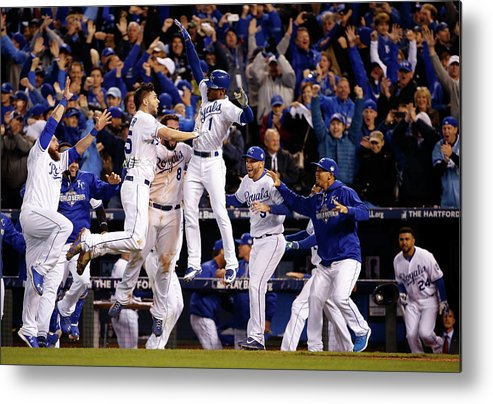 People Metal Print featuring the photograph Mike Moustakas, Jarrod Dyson, and Eric Hosmer by Sean M. Haffey