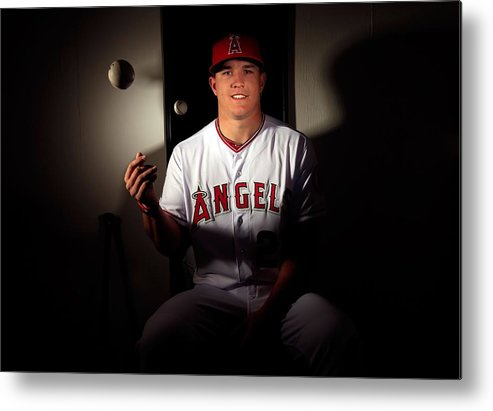 Media Day Metal Print featuring the photograph Mike Trout by Jamie Squire