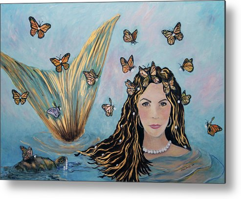 Mermaid Metal Print featuring the painting More Precious Than Gold by Linda Queally