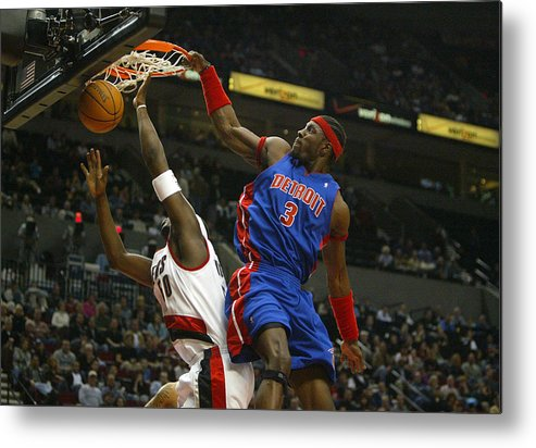 People Metal Print featuring the photograph NBA Basketball 2005 - Pistons vs. Trailblazers by Icon Sports Wire