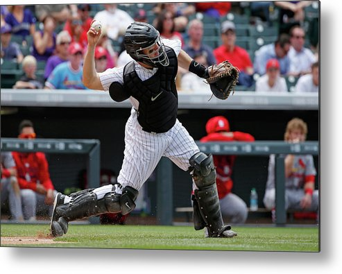 Baseball Catcher Metal Print featuring the photograph Nick Hundley by Doug Pensinger