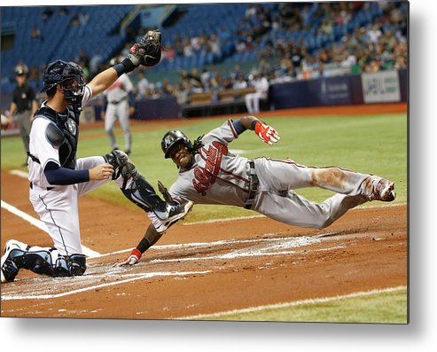 Baseball Catcher Metal Print featuring the photograph Nick Markakis and Cameron Maybin by Brian Blanco